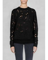& Other Stories Black Looseknit Pullover