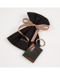 Paul Smith - Men's Black Leather 'mini Graphic Edge' Keyring for Men - Lyst