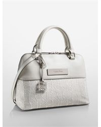 Calvin Klein | White Label Logo Jacquard Lurex Studio Dome Satchel | Lyst