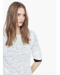 Mango | Gray Textured Cotton T-shirt | Lyst