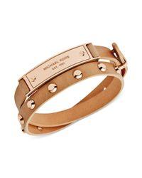 Michael Kors | Natural Rose Goldtone Stud and Plaque Buff Leather Wrap Bracelet | Lyst
