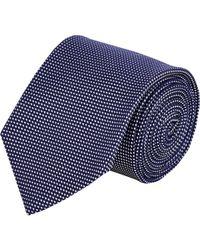 Drake's Blue Micro-dot Jacquard Neck Tie for men