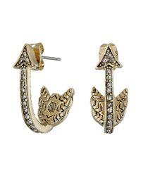 House of Harlow 1960 Metallic Arrow Affair Huggies Earrings