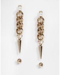 Pieces | Metallic Rilo Chain Drop Mismatch Earrings | Lyst
