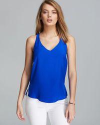 Amanda Uprichard Blue Top Temple Silk