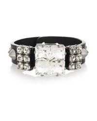 Miu Miu | Black Studded Leather and Swarovski Crystal Bracelet | Lyst