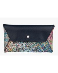 Men's Graffiti Phone Envelope In Blue And A Multicoloured Pattern Leather