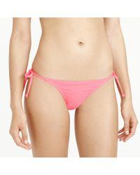 J.Crew | Pink String Hipster Bikini Bottom In Italian Matte | Lyst