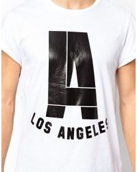 ASOS - White Tshirt with Glossy La Print and Roll Sleeve for Men - Lyst