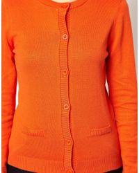 ASOS | Orange Button Front Cardigan with Crew Neck | Lyst