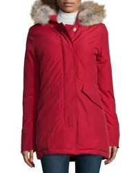 Woolrich | Red Arctic Placket-front Parka W/ Fur Hood | Lyst