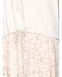 3.1 Phillip Lim Pink Floral Lace Skirt French Terry Dress