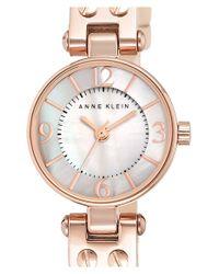 Anne Klein | Metallic Round Leather Strap Watch | Lyst