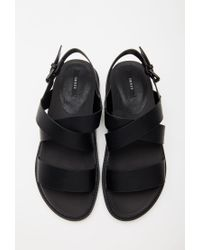 Forever 21 - Black Textured Faux Leather Sandals - Lyst