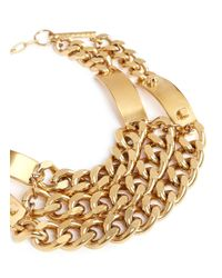 Ela Stone | Metallic 'Heidi' Metal Plate Chunky Chain Plastron Necklace | Lyst