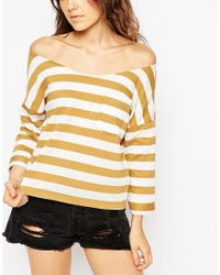 ASOS | Brown Sweatshirt With Off Shoulder In Stripe | Lyst