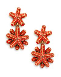 Oscar de la Renta | Red Anemone Drop Clip Earrings/goldtone | Lyst