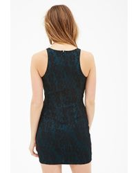 Forever 21 - Blue Floral Lace Bodycon Dress - Lyst