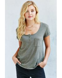 Truly Madly Deeply | Green Henley Tee | Lyst