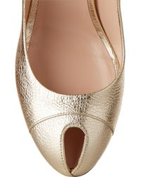 Sergio Rossi - Cachet Metallic Textured-Leather Peep-Toe Pump - Lyst