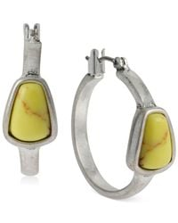 Kenneth Cole | Yellow New York Silver-Tone Semiprecious Bead Small Hoop Earrings | Lyst