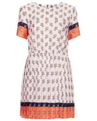 TOPSHOP - Orange Pleated Ditsy Print Shift Dress - Lyst