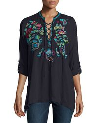Johnny Was - Black Yang Lace-up Embroidered Blouse - Lyst