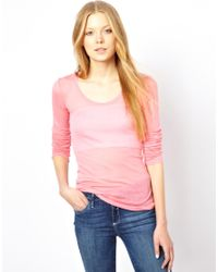 American Vintage - Pink Round Neck T-Shirt With Long Sleeves - Lyst