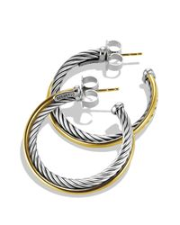 David Yurman | Metallic Crossover Medium Hoop Earrings With Gold | Lyst