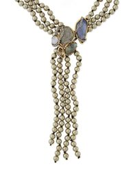 Alexis Bittar Gray Reversibledrop Shell Pearl Necklace