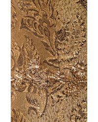 Marchesa Embroidered Metallic Brocade Cocktail Dress