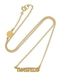 Marc By Marc Jacobs | Metallic Twisted Gold-Tone Cubic Zirconia Necklace | Lyst