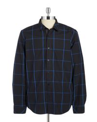 Guess Blue Parker Windowpane Sportshirt for men