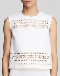 Clover Canyon White Top - Laser-Cut Neoprene Crop