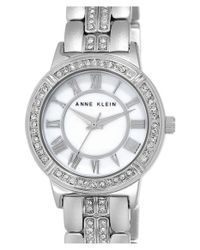 Anne Klein | Metallic Crystal Accent Bracelet Watch | Lyst