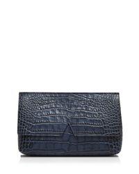 Vince - Blue Clutch - Signature Croc-stamped Medium - Lyst