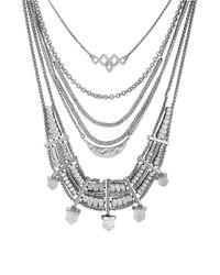 Lucky Brand Metallic Semi-precious Stone Bib Necklace