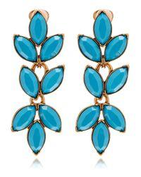 Oscar de la Renta - Blue Navette Chevron Clipon Earrings - Lyst