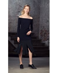 Tibi Black Crepe Off-the-shoulder Tunic