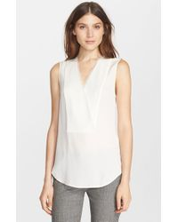 Theory | White 'taneah' Sleeveless Silk Top | Lyst