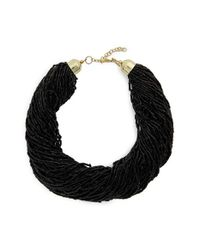 TOPSHOP - Black Bead Multistrand Necklace - Lyst