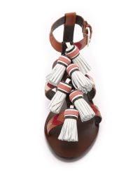 Tory Burch | Multicolor Weaver Tassel Sandals | Lyst