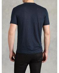 John Varvatos   Blue Linen V-neck for Men   Lyst