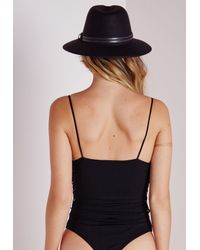 Missguided - Tie Side Ribbed Bodysuit Black - Lyst
