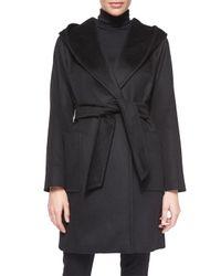 Max Mara Black Rialto Camel Hair Hooded Mid-length Blanket Coat