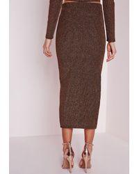 Missguided - Brown Lurex Rib Longline Midi Skirt Bronze - Lyst