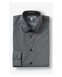 Express - Black Extra Slim Microsquare Print Dress Shirt for Men - Lyst