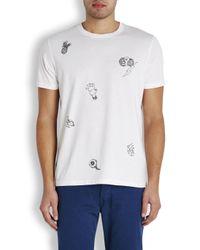 Paul Smith White Clown Print Cotton T-Shirt for men