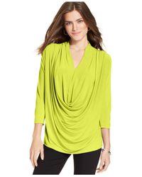 Eci - Green V-Neck Draped Three-Quarter-Sleeve Top - Lyst