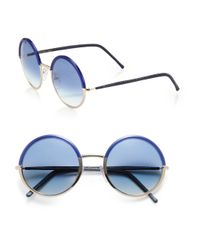 Cutler & Gross - Blue 54mm Round Sunglasses - Lyst
